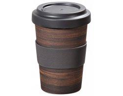 Kesper Plastový hrnek na kávu s dekorem Tmavé dřevo, 400 ml