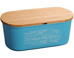 Kesper Plastový chlebník s prkénkem, modrý
