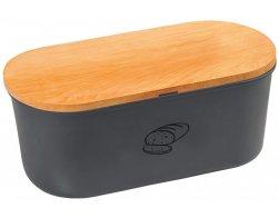 Kesper Plastový chlebník s prkénkem, šedý matný, oválný
