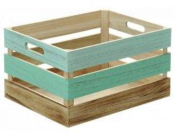 Kesper Víceúčelová dřevěná bedýnka, tříbarevná, 35 x 25 x 19,5 cm