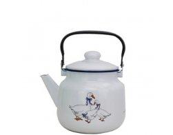 Smaltovaný čajník 3,5 l, bílý s dekorem Husa, Radost