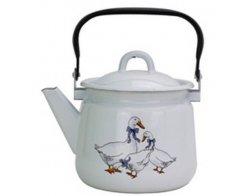Smaltovaný čajník 2,5 l, bílý s dekorem Husa, Radost