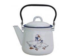 Smaltovaný čajník 1,5l, bílý s dekorem Husa, Radost