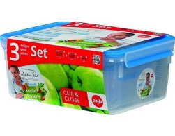Sada 3ks dóz na potraviny 1,0L/2,3L/3,7L - CLIP AND CLOSE, EMSA