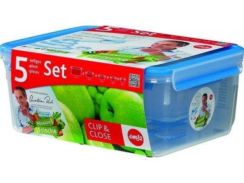 Sada 5ks dóz na potraviny 0,15L/0,25L/0,55L/1,0L/3,7L CLIP AND CLOSE, EMSA