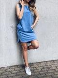 Bavlněné šaty - Modrý melír
