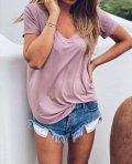 Basic tričko do V - Starorůžové