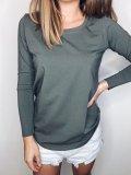 Bavlněné tričko s dlouhým rukávem - Khaki