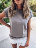 Bavlněné tričko one size - Šedohnědé