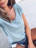Bavlněné basic tričko do V - Šedomodré
