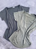 Basic tričko do V - Světlá khaki (bambus)