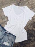 Basic tričko do V - Bílé (bambus)
