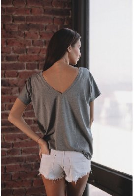 Tričko s V výstřihem na zádech - Šedé