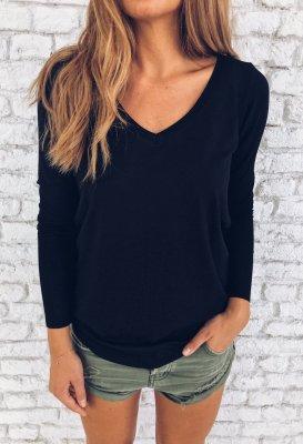 Tričko s dlouhým rukávem do V - Černé
