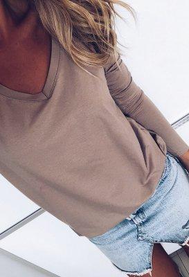 Tričko s dlouhým rukávem do V - Mocca