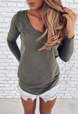 Tričko s dlouhým rukávem do V - Khaki