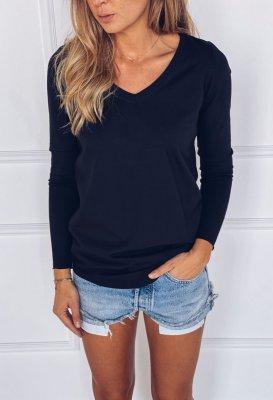 Bavlněné tričko s dlouhým rukávem do V - Černé