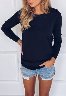 Bavlněné tričko s dlouhým rukávem - Černé