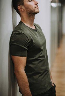 Bavlněné basic tričko - Khaki