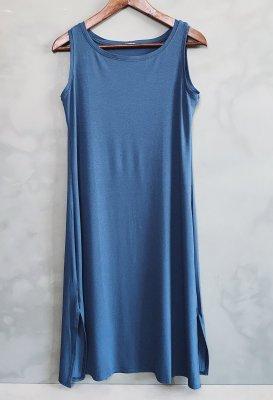 Basic šaty na ramínka - Modré