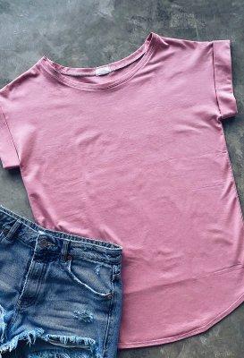 Bavlněné basic tričk - Růžové One size