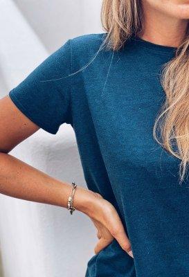 Basic tričko - Petrolejové žíhané