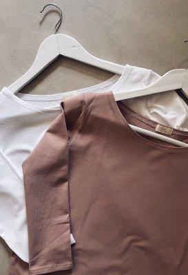 Bavlněné tričko s 3/4 rukávem - Starorůžové