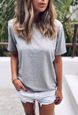 Bavlněné basic tričko - Šedé melé