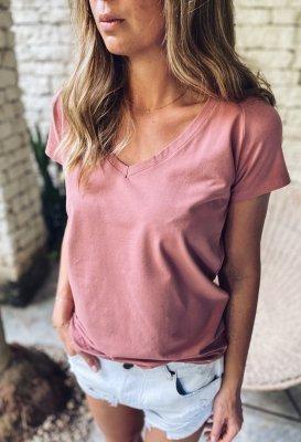 Bavlněné tričko do V - Dusty mauve