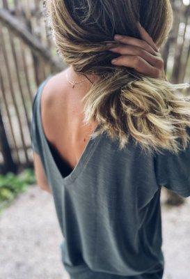 Tričko s V výstřihem na zádech - Khaki