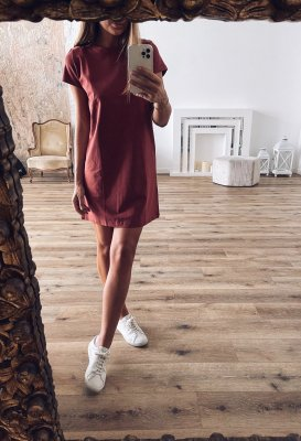 Basic šaty bavlněné - Terakotové
