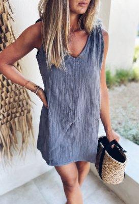 Letní šaty - Šedé (mušelín)