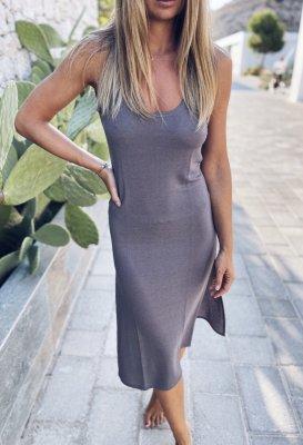 Letní šaty - Šedé s rozparky