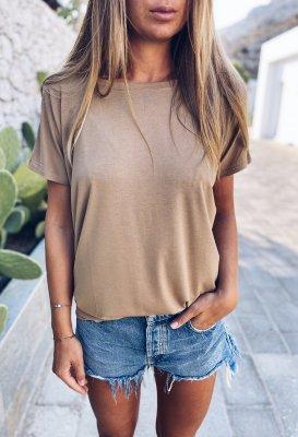 Tričko s V výstřihem na zádech - Pískové