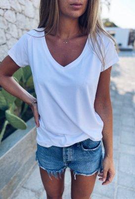 Basic tričko do V - Bílé (viskóza)