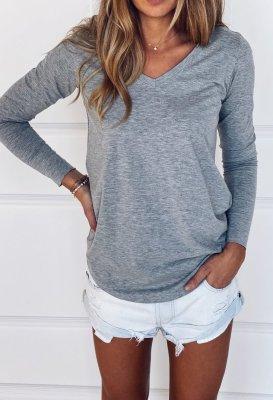 Bavlněné tričko s dlouhým rukávem do V - Šedé melé