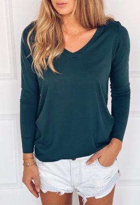 Tričko s dlouhým rukávem do V - Tmavě zelené