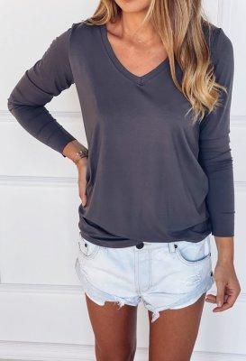 Tričko s dlouhým rukávem do V - Tmavě šedé