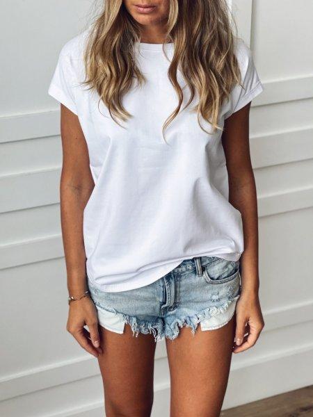 Bavlněné tričko one size - Bílé