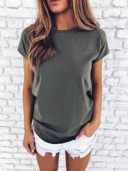 Bavlněné tričko - Khaki One size