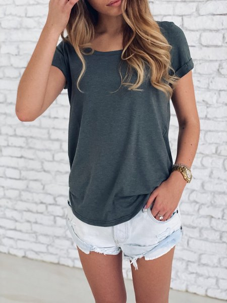 Basic tričko - Khaki žíhané