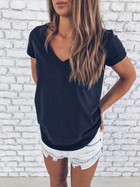 Bavlněné tričko do V- Šedočerné