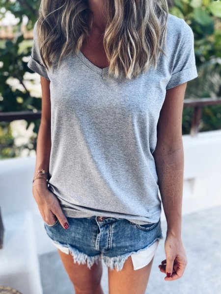 Basic tričko do V - Šedé melé