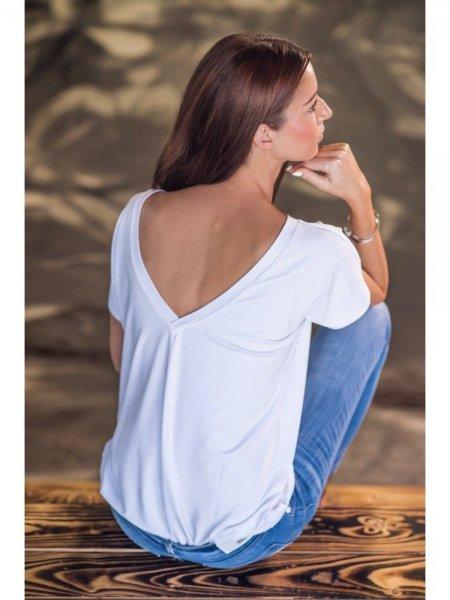 Tričko s V výstřihem na zádech - Bílé