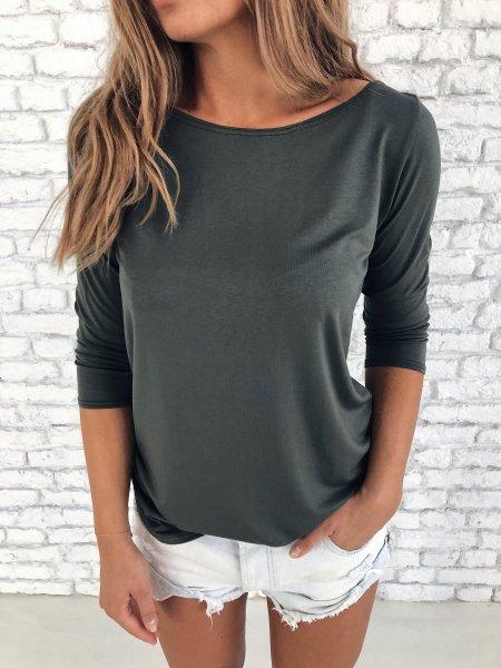 Bavlněné tričko s 3/4 rukávem - Khaki