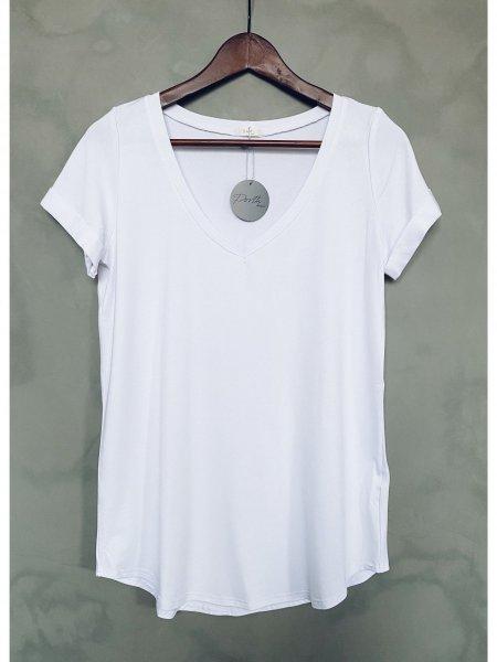 Basic tričko do V - Bílé