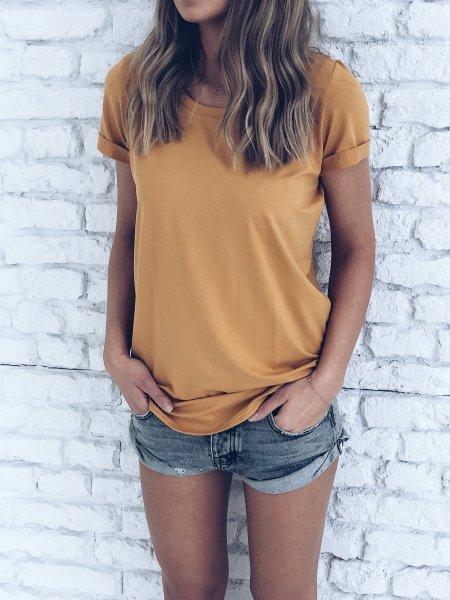 Basic tričko - Okrové