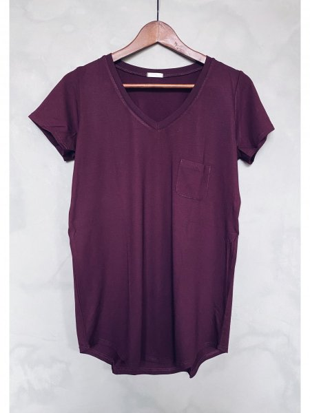 Basic tričko do V - Vínové