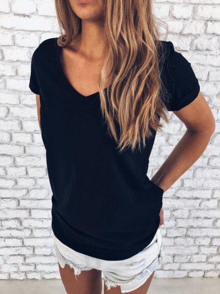 Bavlněné tričko do V - Černé