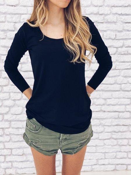 Tričko s dlouhým rukávem - Černé